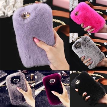 Stylish Warm Soft Faux Furry Fur Diamond Phone Case Cover For iPhone X/7/8/8PLUS