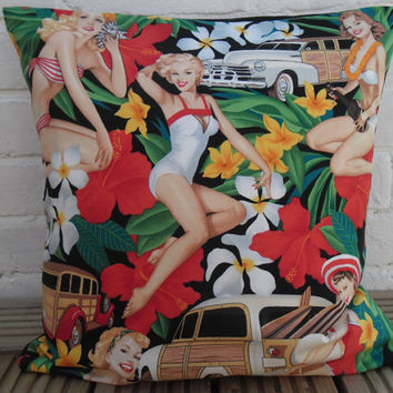 Retro Aloha Pin-Up Girls Cushion Cover (Alexander Henry fabric)