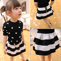 Girls Kids Baby Party Black White Striped Flared Skirt Mini Tutu Dress Toddler A_L = 1655759044