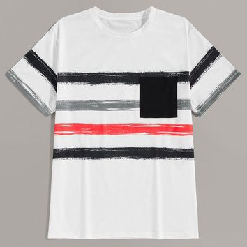 Men Pocket Front Brush Print Tee