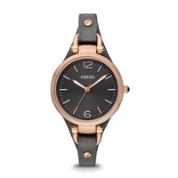 Fossil Georgia Three Hand Leather Watch in Smoke and Rose Gold ES3077