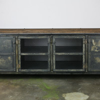 Vintage Industrial Media Console/Credenza. Reclaimed wood top & Steel. Great urban/modern design. Custom Configurations. (Buffet/sideboard)
