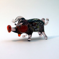 Glass piglet art glass home decor glass piglet fused glass piglet ornament art glass fused glass piglet murano glass handmade(282)