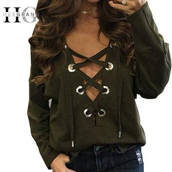 HEE GRAND Brandage V-neck Tops Tee 2017 Women Tie Lace Up Tops Sexy Hollow Out Casual T-shirt Long Sleeve Jumper
