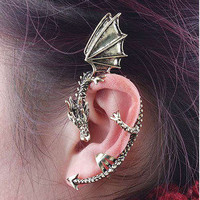 1 PCS Gothic Punk Snake Dragon Fox Tiger Animal Flower Ear Cuff Stud Earring HOT