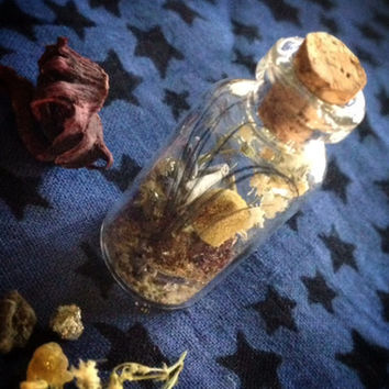 Ritual Vial Herbal Magick, Altar Items, Wicca, Faerie Spell, Fairy Altar Magick, Amethyst, Patchouli, Peacock Feathers, Krishna