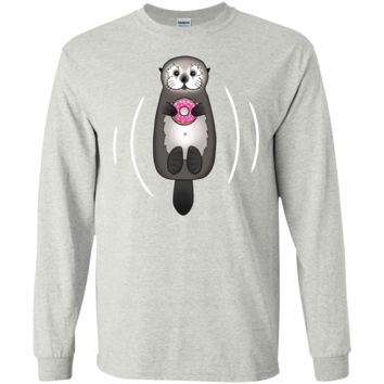 sea otter with donut - cute otter holding doughnut with little p  funny T-Shirt