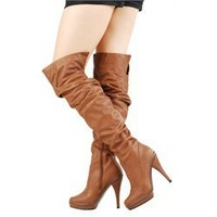 Wild Diva Charlotte01 Whisky Slouchy OTK Boots and Womens Fashion Clothing & Shoes - Make Me Chic