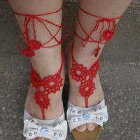 1 Pair, Crochet Barefoot Sandals, Beachwear, Anklets,, Fancy, Eyelets, Red, Sexy, Yoga, Ballet, Beach, Pool, Vacation