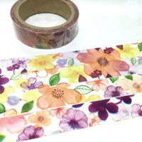 tropical flowers washi masking tape 5M flower garden blossom flower sticker tape flower drawing peony camellia purple flower decor tape