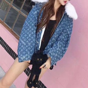 LMFON Louis Vutitton LV×Supreme' Women Fashion Logo Letter Fur Collar Long Sleeve Cardigan Denim Cotton Clothes Coat