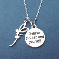 Believe you can and you will, Fairy, Silver, Necklace, Birthday, Best friend, Friendship, Gift, Jewelry