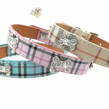2017 New Leather Dog Collar Pets Adjustable Dog Accessories Crystal Bone Dog Collars Plaid Cats Chihuahua Collar For Small Dogs