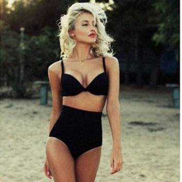 Summer Fashion Women Solid Black Color High Waist Bikinis Set Swimwear = 5617131969