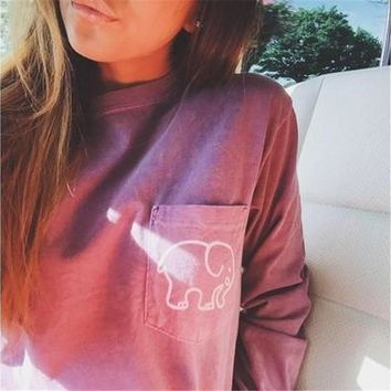 Women's Loose Round Neck Long Sleeve Casual Sweatshirts Pullovers Cotton Fashion Outwear Basic Elephant Pattern Tops [8045200711]