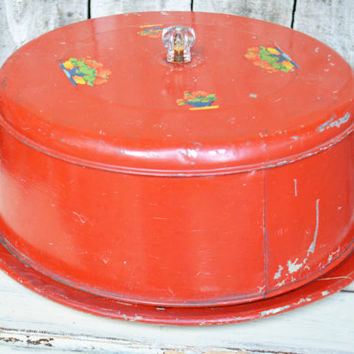 Vintage Red Cake Saver With Wood Bottom & Glass Knob, Rustic Cake Carrier Metal Cover Server Red, Kitchen Red, Pie Carrier