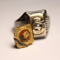 Antique Pontiac Salesmen Pin and Ring Vintage 1920's Sterling Silver 10k Gold Pin and Ring