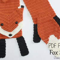 Crochet PATTERN - Fox Scarf / Fox Lovers, What Does the Fox Say, Fox Scarf, Neck Warmer - PATTERN ONLY