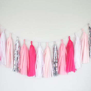 Hot Pink, Blush and Silver Tassel Garland - Valentines Day Party Decor, Wedding Decor, Birthday Party, Photo Backdrop, Baby Shower