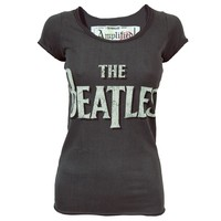 Amplified Ladies Beatles Scoop Neck T Shirt Charcoal