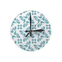 Blue Curacao And White Graphic Art Pattern Wall Clock from Zazzle.com