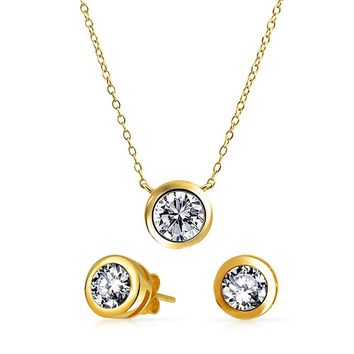 CZ Bezel Pendant Necklace Earring Set 14K Gold Plated Sterling Silver