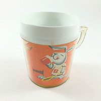 Vintage Rabbit Plastic Cup Mug Bunny Rabbit Kids Cup Kitschy Rabbit Kitschy Bunny Playing Badminton Paper Lined Plastic Sippy Cup