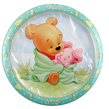 Winnie the Pooh Baby Shower Plates [9 inches - 8 Per Pack]