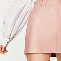 LEATHER EFFECT MINI SKIRT DETAILS