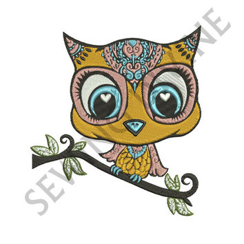 OWL Machine EMBROIDERY Design Instant Download 4x4 5x7 6x10 Hoop 8 Formats