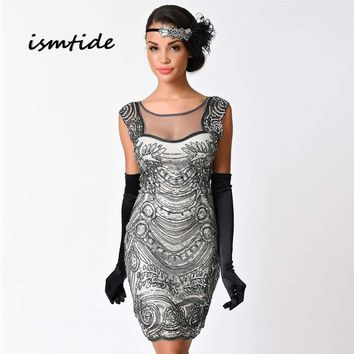 Gatsby Sequined Dress Embroidery O Neck Sequin Art Flapper Dress Women Summer 1920s Vintage Great Gatsby Party Dresses Sexy Club