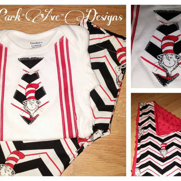 Cat in the Hat themed 3 pc Baby boys set . Appliqued top pants and matching burp cloth 0-3 months