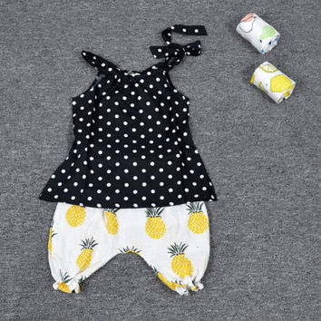 KIDS MINI TIME 2pcs Summer Baby Girls Clothes Slip Vest Tank Polka Dot pattern T-shirt+Pineapple Bloomers Pants Shorts Set