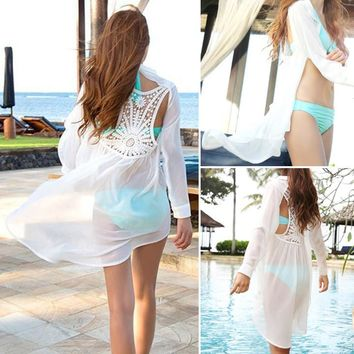 Chiffon Backless Lace Crochet Bikini Beach Cover Up Dress