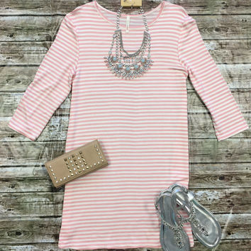 Striped 3/4 Tunic Dress: Light Pink