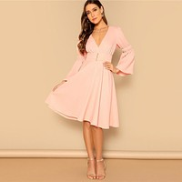 Pink Deep V Neck Flounce Sleeve Button Front Dress Party Ruffle High Waist Knee Length Fit and Flare Women Dresses