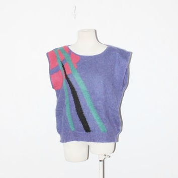 80s vintage purple colorblock speckled sweater jumper by MontanaSnowVintage