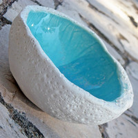 decorative ceramic  bowl in turquoise, textured pottery bowl