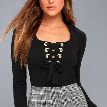 Looking Back Black Long Sleeve Lace-Up Top