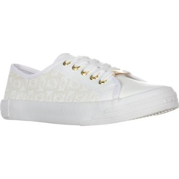 Bebe Sport Dane Lace Up Fashion Sneakers, White Logo, 8 US