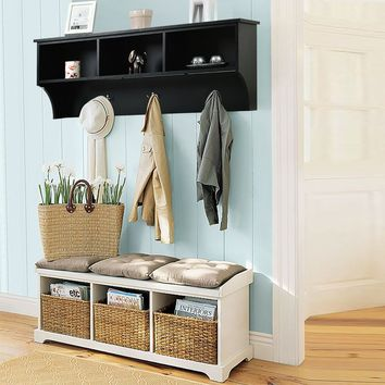"48"" Entryway Cubbie Wall Mounted Storage Shelf w/ Hooks This elegant hanging entryway shelf would be a great choice for you."