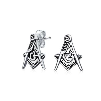 Square and Compass Masonic Freemason Stud Earrings Sterling Silver
