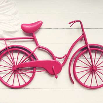Metal Bike Art / Beach Decor / Retro Decor / Bike Decoration / Metal Wall Art / Bicycle Art / Customize Color / Pink Home Decor