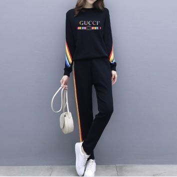 """Gucci"" Women Casual Fashion Letter Pattern Long Sleeve Trousers Set Two-Piece Sportswear"