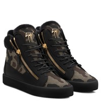 Giuseppe Zanotti Gz Cole Camouflage Fabric Sneaker With Ram Fur - Best Deal Online
