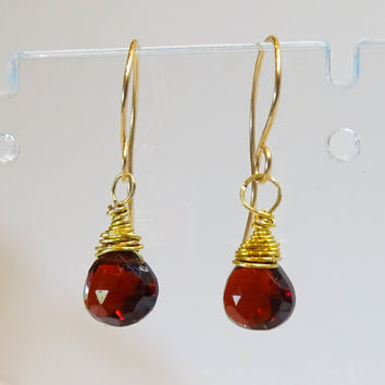 Garnet gemstone drop earrings, AA micro-faceted pear shaped Garnets,Jan birthstone,natural gemstone,Capricorn,gemstone jewelry