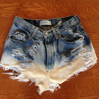 High waisted shorts ombré acid-wash