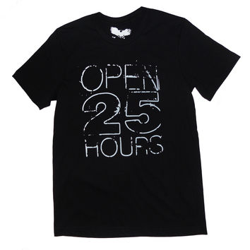 Open 25 Hours Blk Unisex T-shirt by American Anarchy Brand