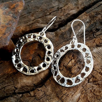 Hoop earrings , Unique hoop earrings , Dangle hoop earrings , Sterling silver , Round hammered sterling silver earrings  , israeli jewelry