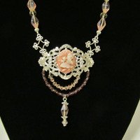 Victorian Filigree Necklace for Evening or Bride or Wedding; Edwardian, Bridal, Vintage Style
